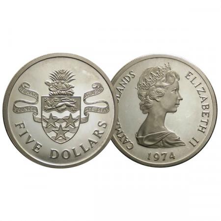 "1974 * 5 Dollar Plata Islas Caiman ""Elizabeth II"" (KM 8) PROOF"