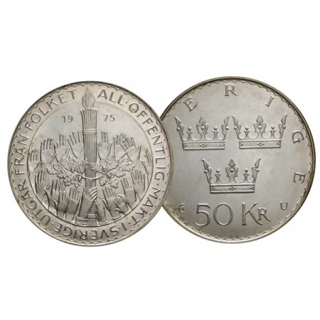 """1975 * 50 Kronor Plata Suecia """"800 Aniversario Puerto de Visby"""" (KM 848) FDC"""