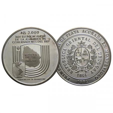 "1984 * 2000 Nuevos Pesos Plata Uruguay ""140th Silver Coinage"" (KM 87) PROOF"