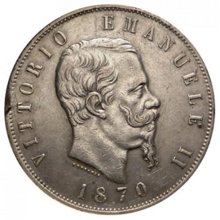 1870 M * 5 Lire plata Italia Víctor Manuel II Tipo 2 BC/MBC