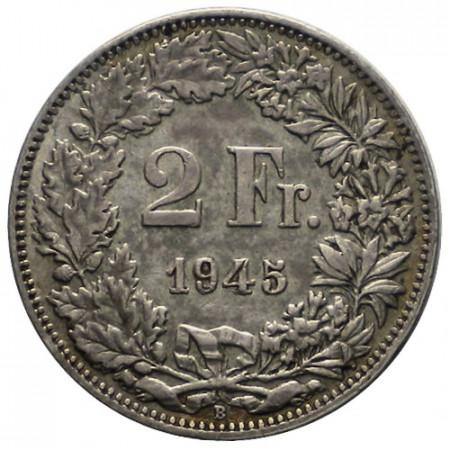 "1945 B * 2 Francs Plata Suiza ""Standing Helvetia"" (KM 21) MBC"