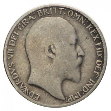"""1910 * 6 Pence Plata Gran Bretaña """"Eduardo VII"""" (KM 799) BC"""