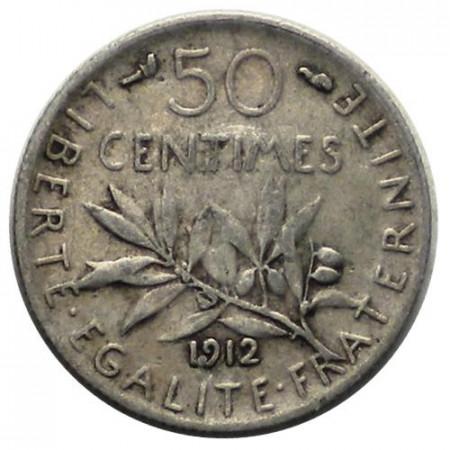 """1912 * 50 Centimes Plata Francia """"Tercera República - Semeuse"""" (KM 854) MBC"""