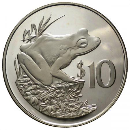 "1986 * 10 Dollars Plata Fiyi ""25° Fundación WWF"" (KM 55) PROOF"