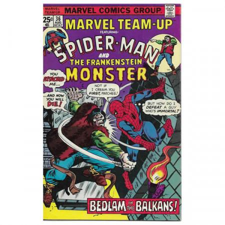 "Historietas Marvel #36 08/1975 ""Marvel Team-Up ft Spiderman - The Frankenstein Monster"""