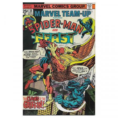 """Historietas Marvel #38 10/1975 """"Marvel Team-Up ft Spiderman - The Beast"""""""