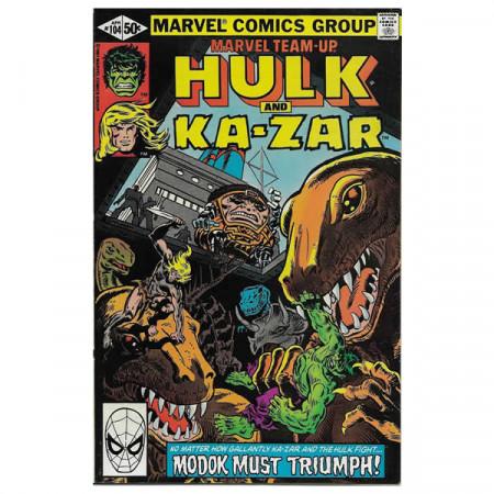 """Historietas Marvel #104 04/1981 """"Marvel Team-Up Hulk - Ka-Zar"""""""