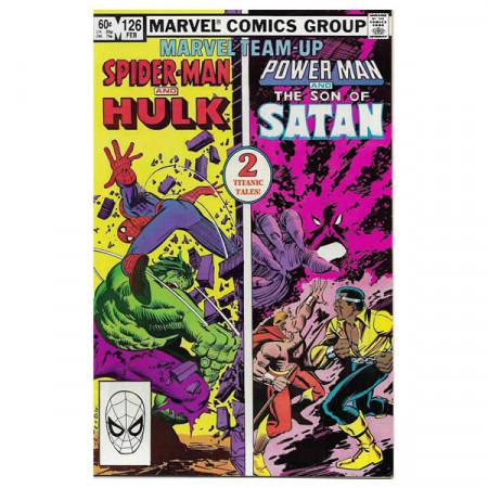 """Historietas Marvel #126 02/1983 """"Marvel Team-Up Spiderman Hulk + Power Man - Son of Satan"""""""