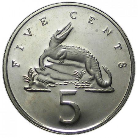 "1977 * 5 Cents Jamaica ""Crocodile"" (KM 53) PROOF"