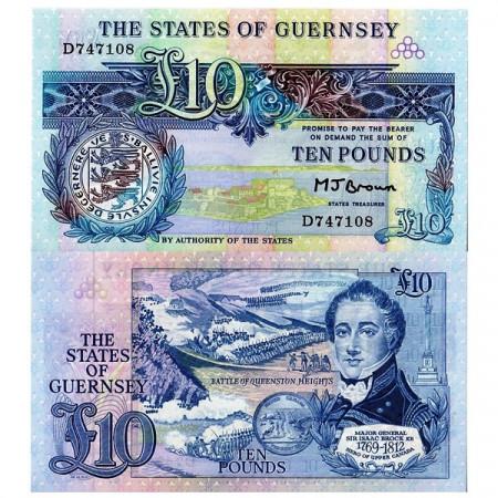ND (1980-89) * Billete Guernsey 10 Pounds (p50b) SC