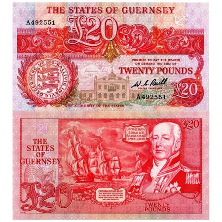 ND (1980-89) * Billete Guernsey 20 Pounds (p51a) SC
