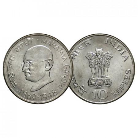 """ND (1969) (B) * 10 Rupees Plata India """"Centenario - El Nacimiento de Mahatma Gandhi"""" (KM 185) UNC"""