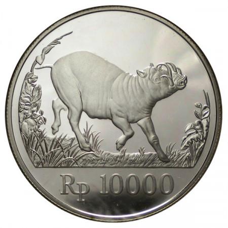 "1987 * 10.000 Rupiah Plata Indonesia ""25° Fundación WWF"" (KM 45) PROOF"