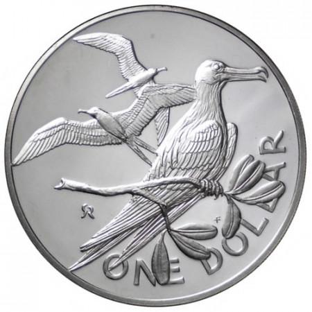 """1975 * 1 Dólar Plata Islas Vírgenes Británicas """"Grandioza Fregato"""""""