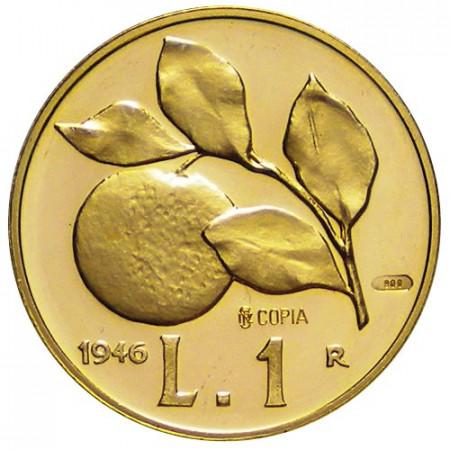 """1946 * 1 Lira Oro Italia República """"Naranja"""" Copia Editalia"""