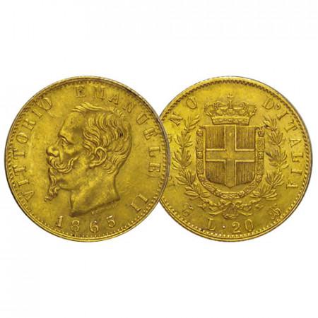 "1865 T * 20 Lire Marengo Oro Reino de Italia ""Víctor Manuel II – Turín"" (KM 10.1) MBC"