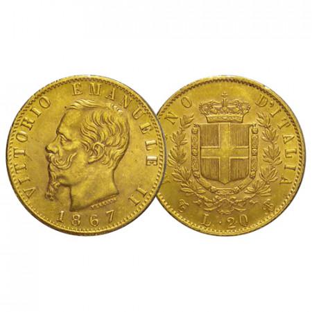"1867 T * 20 Lire Marengo Oro Reino de Italia ""Víctor Manuel II – Turín"" (KM 10.1) MBC+"