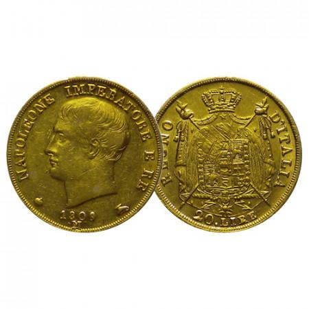 "1809 M * 20 Lire Oro Italia ""Napoleón I Rey de Italia - Milano"" Tipo 2 (G 85 - KM 11) EBC"