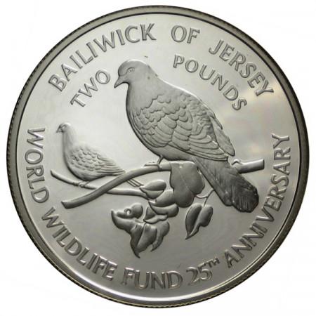 "1987 * 2 Pounds Plata Jersey ""25° Fundación WWF"" (KM 70a) PROOF"