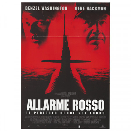 "1995 * Cartel Cinematográfico ""Marea Roja - G Hackman, D Washington"" Thriller/Dramma"
