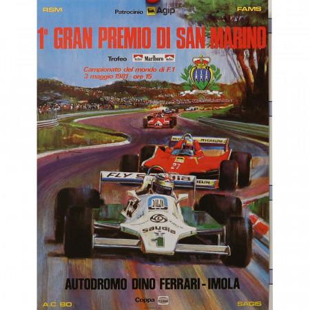 """1981 * Cartel Publicitario Original """"1° Gran Premio di San Marino Formula 1 - SPALLOTTI"""""""
