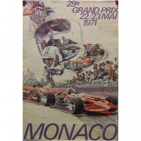 "1971 * Cartel Publicitario Original ""29° Gran Premio di Monaco Formula 1 - CARPENTIERI"""