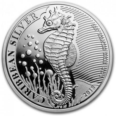 """2018 * 1 Dollar Plata 1 OZ Barbados """"Caribbean Seahorse"""" FDC"""