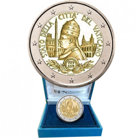 """2019 * 2 Euro VATICANO """"90° Fundación del Estado de la Ciudad del Vaticano"""" PROOF"""