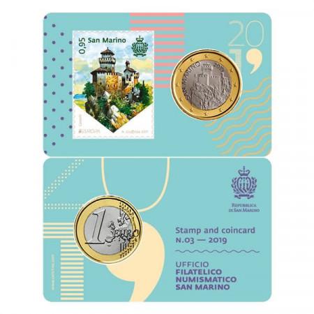 "2019 * Coincard SAN MARINO 1 Euro ""Stamp and Coin - 03"" FDC"