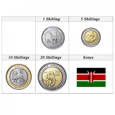 "2018 * Serie 4 Monedas Kenia ""Shillings"" UNC"