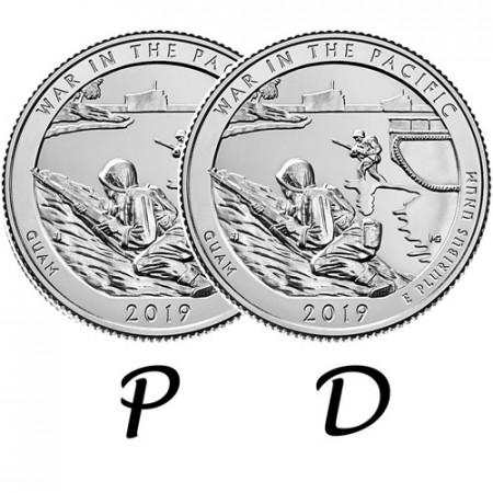 """2019 * 2 x Cuarto de Dólar (25 Cents) Estados Unidos """"War In The Pacific - Guam"""" P+D"""