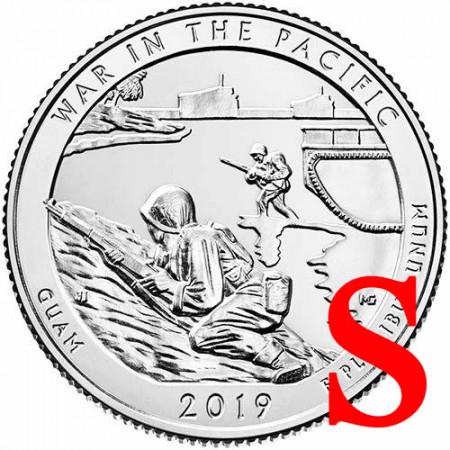 """2019 * Cuarto de Dólar (25 Cents) Estados Unidos """"War In The Pacific - Guam"""" S UNC"""