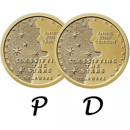 "2019 * 2 x 1 Dólar Estados Unidos ""American Innovation - Delaware - Classifying the Stars"" P+D"