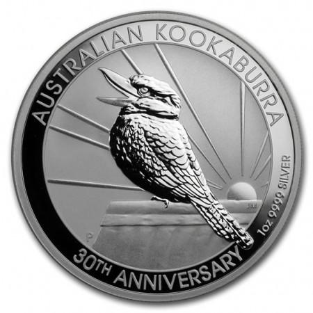 """2020 * 1 Dólar Plata 1 OZ Australia """"Kookaburra – 30° Aniversario"""" FDC"""