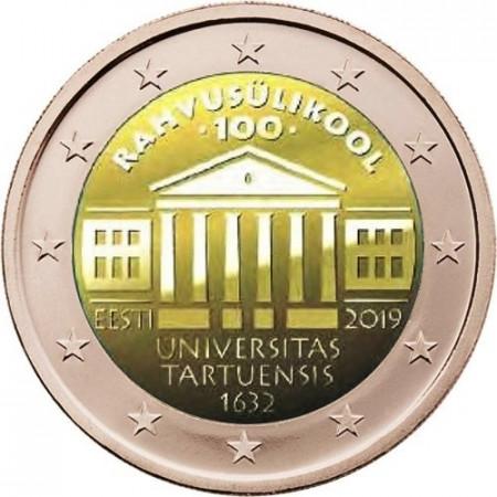 """2019 * 2 Euro ESTONIA """"100a Fundación de la Universidad de Tartu"""" UNC"""