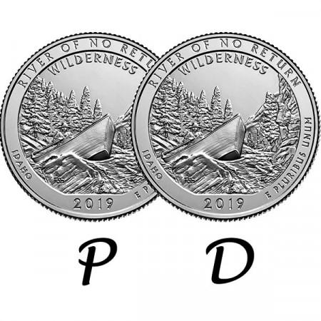 "2019 * 2 x Cuarto de Dólar (25 Cents) Estados Unidos ""River of No Return - Idaho"" P+D"