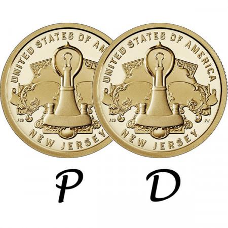 """2019 * 2 x 1 Dólar Estados Unidos """"American Innovation - New Jersey - Edison Lightbulb"""" P+D"""