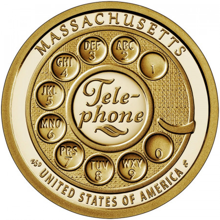 "2020 * 1 Dólar Estados Unidos ""American Innovation - Massachusetts - Telephone"" UNC"
