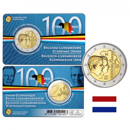 """2021 * 2 Euro BELGICA """"Centenario Unión Económica Belga-Luxemburguesa"""" Versión Holandesa Coincard"""