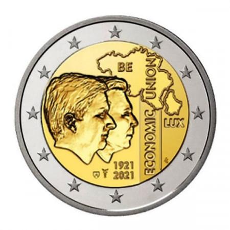 """2021 * 2 Euro BELGICA """"Centenario Unión Económica Belga-Luxemburguesa"""" FDC"""