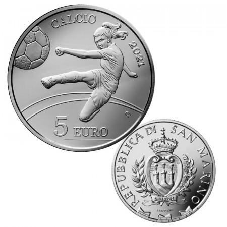 """2021 * 5 Euro SAN MARINO """"Fútbol Femenino"""" PROOF"""