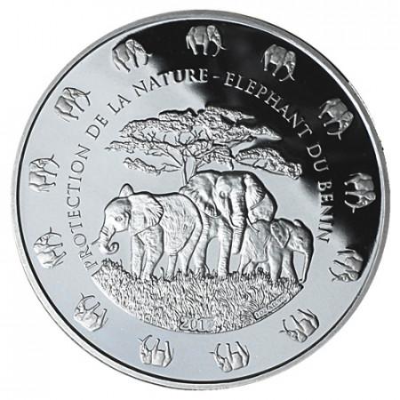 """2017 * 1000 Francs 1 OZ Benín """"Elephant"""" PROOF"""