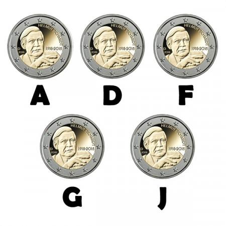 """2018 * 2 Euro ALEMANIA """"Centenario del Nacimiento de Helmut Schmidt"""" - 5 Monedas UNC"""