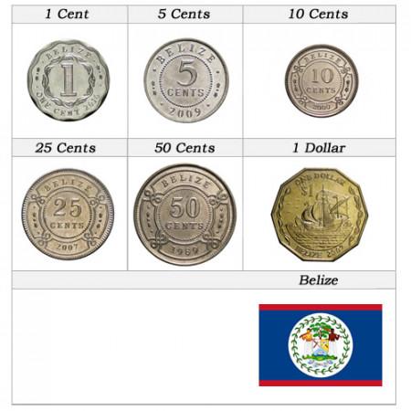 """Años Mixto * Serie 6 Monedas Belice """"Dollar"""" XF-UNC"""