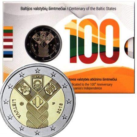 """2018 * 2 Euro LITUANIA """"100° Estados Bálticos Independientes"""" Coincard"""