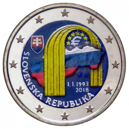 "2018 * 2 Euro ESLOVAQUIA ""25º de la República Eslovaca"" Colorido"