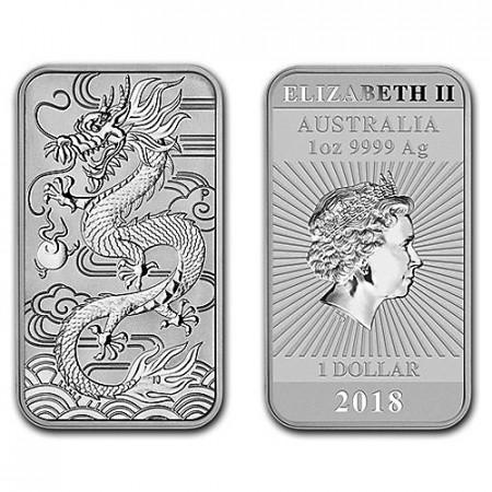 "2018 * 1 Dollar Lingote Plata 1 OZ Australia ""Dragon Bar"" FDC"