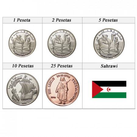 "2018 * Serie 5 Monedas Sahraoui ""Pesetas"" UNC"
