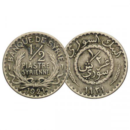 "1921 * 1/2 Qirsh (Piastre) Siria ""Value Within Wreath"" (KM 68) MBC"