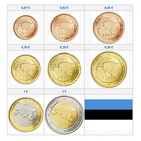 2018 * Serie 8 Monedas Euro ESTONIA UNC